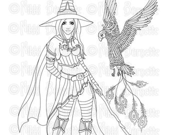 Digital Stamp - Printable Coloring Page - Fantasy Art - Witch Stamp - Adult Coloring Page - Serafina - by Nikki Burnette - PERSONAL USE