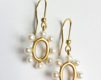 Yellow Gold and White Freshwater Pearl Oval Drop Wedding Earrings