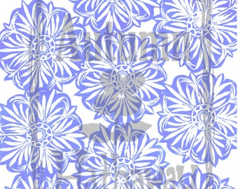 INSTANT DOWNLOAD clip art & Digital Paper Designed From a Carved Stamp Periwinkle Blue / All artwork is Copyright © Autumn Hathaway 8.5x11