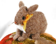 Pincushion: Baby Brown Victorian Bunny on a Cut Velvet Tuffet