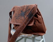 Medium Brown  Messenger Bag - Dragonfly Words - Adjustable Strap - Pockets - Key Fob