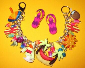 Tropical Vacation Charm Bracelet Summer Jewelry Tropical Island Paradise Getaway Fun Beach Jewelry Flip Flops Fish Palm Tree Boat Sun Drink