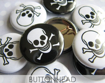 Cheap Halloween Party Favors - Skull and Crossbone Pins - Pirate Costume - Skeleton - 1 Inch Small Pinback Buttons (Set of 10)