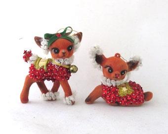 2 Rare Vintage Flocked Beaded Deer Ornament Figurines Christmas Decorations Holiday Decor