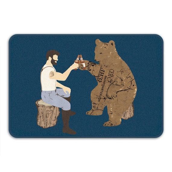 Having A Bear Memory Foam Bath Mat Funny Bathroom Rug