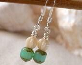 Short Bead Earrings - Women's Earrings - Petite Beaded Earrings - Aqua Blue Earrings - Small Earrings - Spring Fling Series - Tiny Earrings