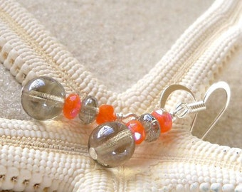 Gift Idea - Bead Earrings - Orange Earrings - Grey Earrings - Dangle Earrings - Beaded Dangle Earrings - Drop Earrings - Women's Earrings