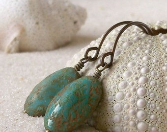 Glass Bead Earrings - Turquoise Green Earrings - Rustic Green Earrings - Drop Earrings - Women's Glass Bead Earring - Beaded Dangle Earrings