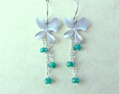 Emerald Earrings Silver Orchid Emerald Gemstone Emerald Flower Silver Earrings Emerald Jewelry Silver Flowers May Birthstone