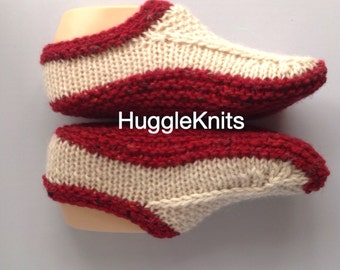 Irish Handmade Ladies Aran Wool Slippers - original design - non-slip soles available but not included
