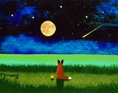 Red Australian Cattle Dog Seascape LARGE Art Print Todd Young painting STARRY BEACH