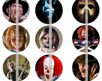 Slasher Movie Pins, Slasher Movie Magnets, Slasher Movie Flatbacks, 80's Horror Flicks, Horror Magnets 12 ct.