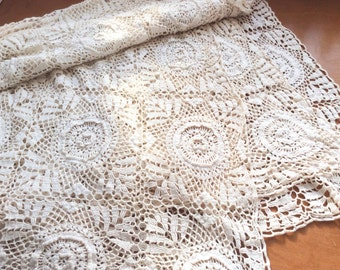 White Crochet Throw, Crocheted Bedspread, Handmade Crochet Cotton Lace Tablecloth, Granny Square Prairie Boho Lace Curtain, Bohemian Decor.