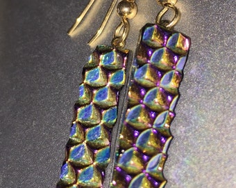 Dichroic bronze fused glass earrings