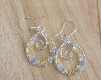 Sterling Silver Citrine Tanzanite and Green Amethyst Faceted Beads Dangle Hoop Earrings Wire Wrapped Jewelry Handmade
