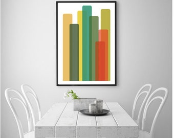 Abstract City Print Colorful Cityscape Abstract Print Abstract Wall Art Print Abstract Skyscrapers Skyline