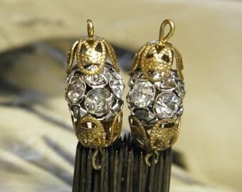 Vintage Rhinestone Ball Beads Filigree Bead Caps Findings Parts Links