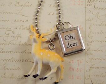 Deer Charm Necklace - Vintage Game Tile and Vintage Deer Necklace - Mixed Media Oh Deer Woodland Necklace - Letter D Scrabble Tile Necklace