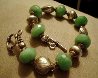 "Sumptuous Peruvian Opal Briolette and Sterling Shells Bracelet 8"""
