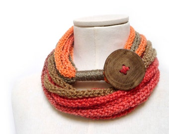 Knit Infinity Scarf Necklace, Loop Scarlette Neckwarmer - Orange, Rust, Brown, ombre yarn with big wood button - Handmade