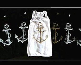 Flowy Tank with Large Graphic Bride Anchor, Tank Top for Women, Juniors, Teens, Many Colors Available, S M L Xl