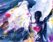 "Angel Watercolor Painting, Pink Heart,  Large Canvas Giclée Art Print of Original Abstract ""The Giving Angel"" Kathy Morton Stanion  EBSQfrom"