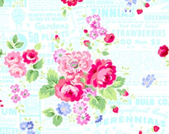 Lakehouse DryGoods Pam Kitty Garden Picnic Main Floral White Quilting Fabric 1 yard