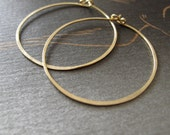 18k gold hammered hoop earrings for her organic solid gold hoops 18 karat solid gold 1.5 inches