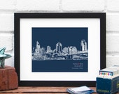 Cincinnati Ohio Bridal Shower Gift, Personalized Engagement Gift, Wedding Gift for Couple, First Anniversary, City Skyline Print, Guestbook