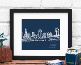 Cincinnati Ohio Bridal Shower Gift, Personalized Engagement Gift, Wedding Gift for Couple, First Anniversary, City Skyline - 8x10 Print