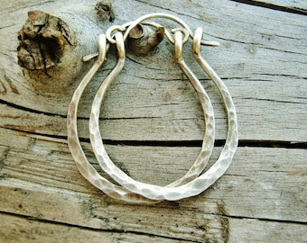 Silver Hoops, Sterling Silver Hammered Hoops - antiqued silver everyday hoop earrings