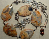 Wire wrapped crazy lace agate, tiger iron, fresh water pearls and Bali sterling silver beaded necklace