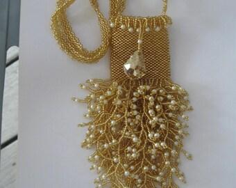 Amulet Necklace,Wish Bag, Treasure Bag, Handbeaded in Gold