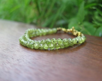 Simple Double Strand Green Stone Bracelet - Peridot - Brass - Boho Jewelry - Bohemian Green Fall Style - Grass Funky - August Birthstone