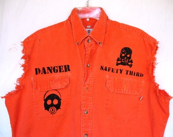 Danger Safety Work Shirt Mens SAFETY THIRD tatters XL Orange Safety Shirt Hazpunk screenprint Gas Mask Biohazard Skull Burning Man upcycled