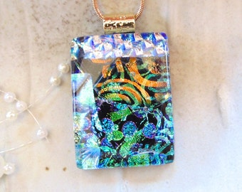 Dichroic Glass Pendant, Glass Jewelry, Necklace, Green, Gold, Blue, Necklace Included, One of a Kind, A9