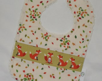 Olive Green Forest Friends Foxes and Leaves Chenille Bib