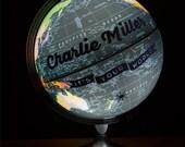 Custom Night-light  Pushpin Globe, Illuminated Globe Art