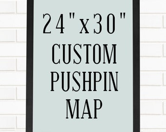 "Push Pin Map Art, Personalized 24""x30"" Pushpin Map"