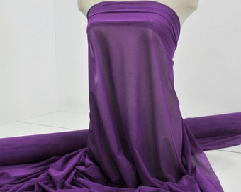"""Power mesh stretch fabric, semi sheer, 4 ways stretch.. Purple . 58 """" wide.. dance, pageant, formal, costume,"""