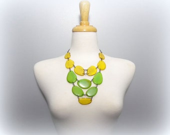 Lemon Lime Acai Seed and Tagua Nut Bib Statement Eco Friendly Necklace with Free USA Shipping #taguanut #ecofriendlyjewelry
