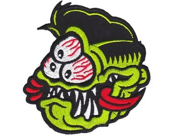 3-Eyed Fink Patch - Lowbrow Art, Monster Embroidered Patch