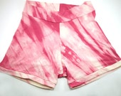 ready to ship // bamboo jersey short shorts / pink tie-dye / by replicca / size large