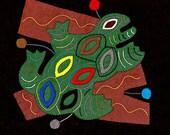 FROG SALE - Fabulous Folk Art Frog Series Mola # 1 - Hand Sewn Kuna Indian Applique