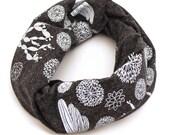 Succulent Print Eco Infinity Scarf (Charcoal)
