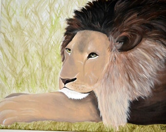 Lion Painting 16x20 inch Canvas
