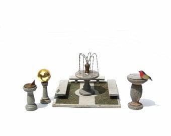 1930s Dollhouse Outdoor Garden Decorations Fountain Bench Sundial Gazing Ball Bird Bath Easy Built Company