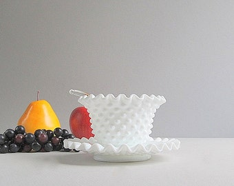 Vintage Milk Glass Hobnail Bowl With Saucer Mayonnaise Bowl Condiment Bowl Glass Ladle