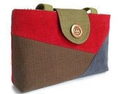 SALE - Color Block - One of a Kind Bag - Patchwork Purse - Slate Blue - Cherry Red - Avocado Green - Brown