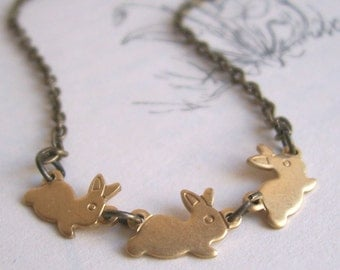 Little Rabbits necklace - golden brass bunny charms - springtime gift - nickel free